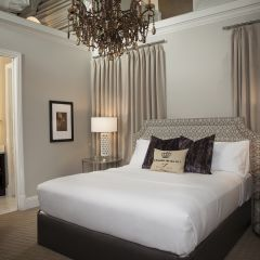 King size bed with chandelier
