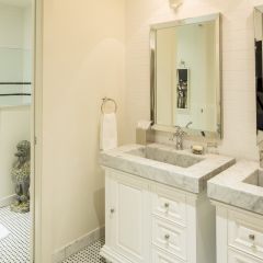 Two Bathroom Sinks With Glass Shower