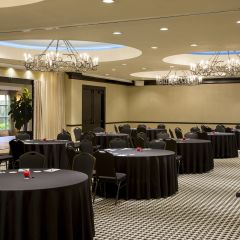 Conference room with large round tables